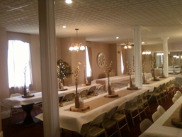The Olde North Chapel banquet room decorated for a wedding