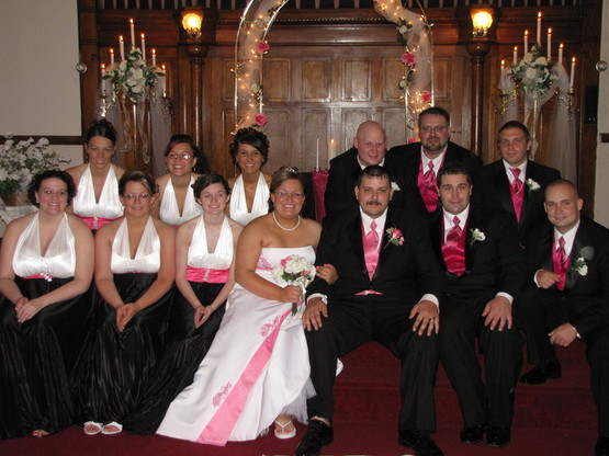 The Olde North Chapel wedding party in hot pink, black and white, Spring 2010, Richmond, Indiana wedding ceremony.